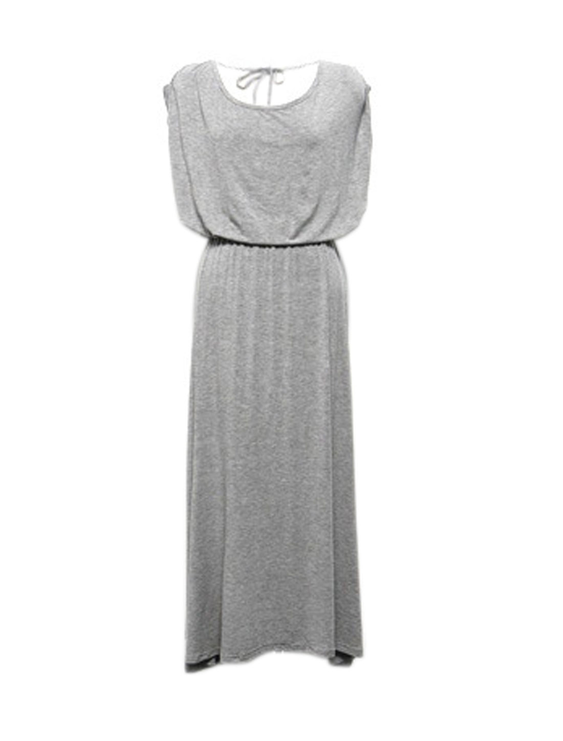 Women Scoop Neck Open Back Elastic Waist Dress w Tube Top Sets Gray S