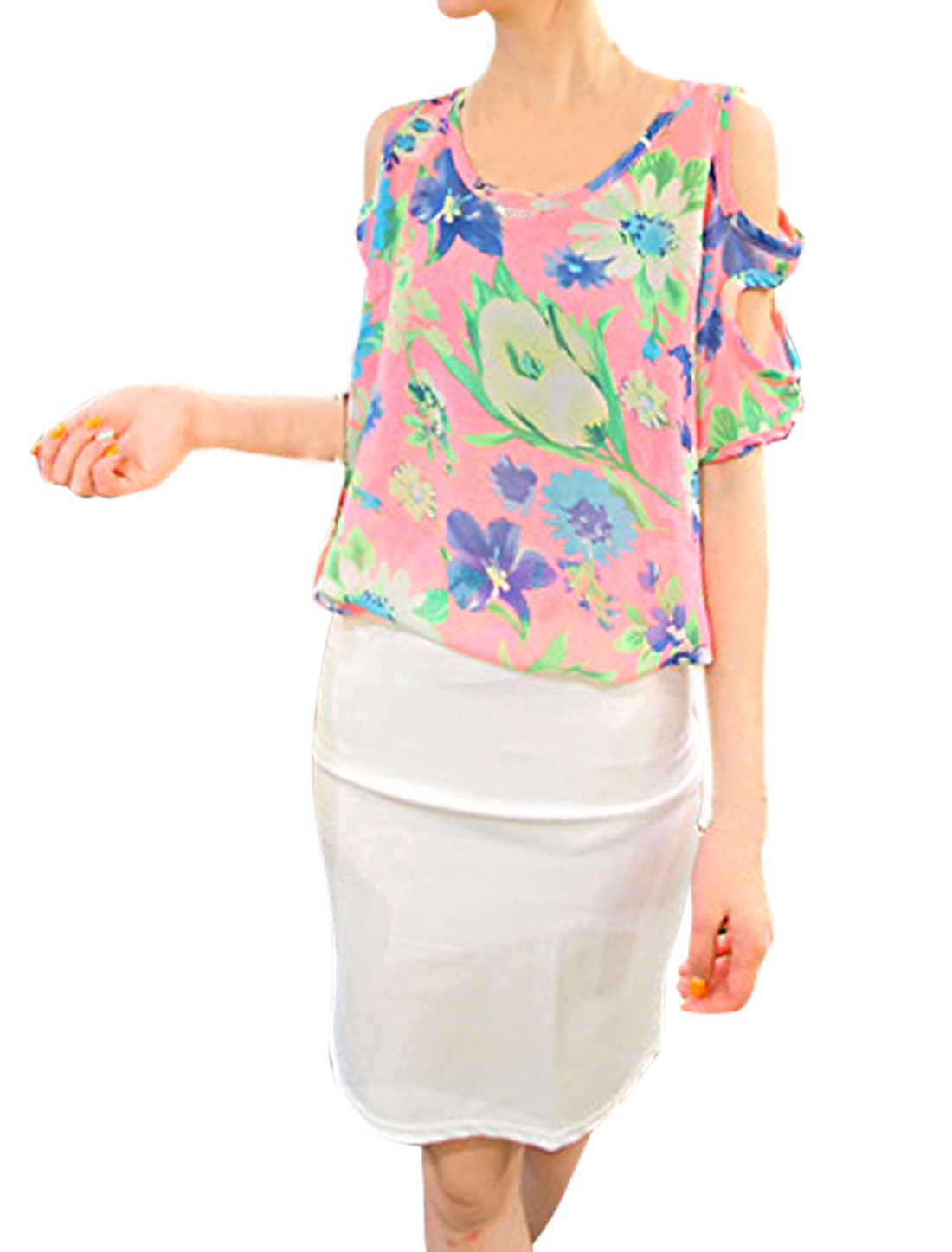 Women Floral Pattern Round Neck Batwing Sleeve Semi Sheer Blouse Pink M