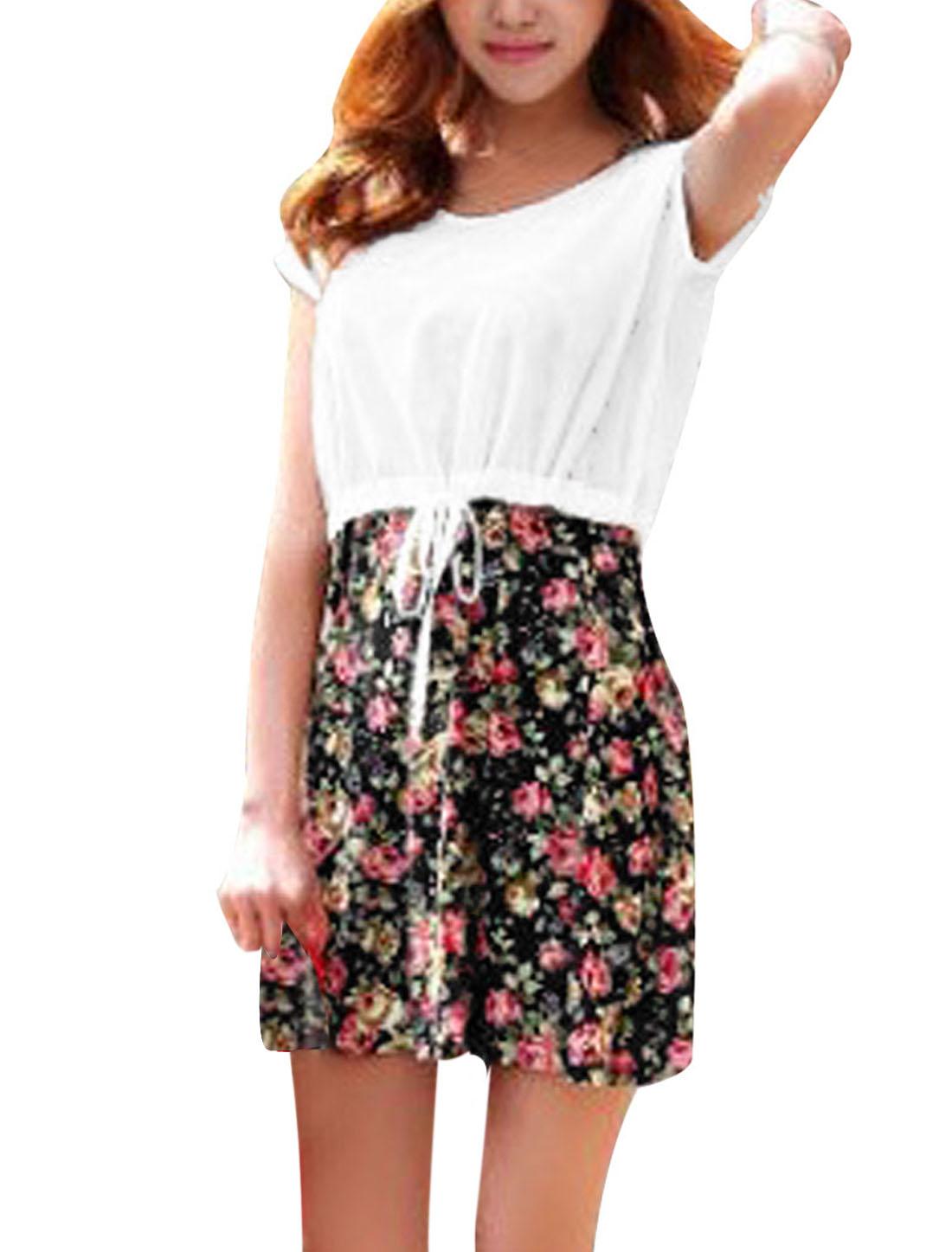 Ladies See Through Drawstring Top w Sleeveless Floral Print Dress F Black
