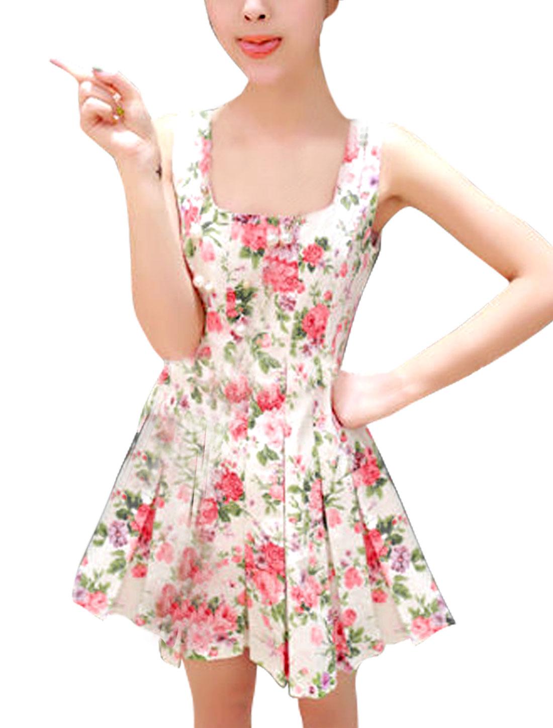 Lady Square Neck Zip Up Back Floral Prints Multicolor Mini Dress XS