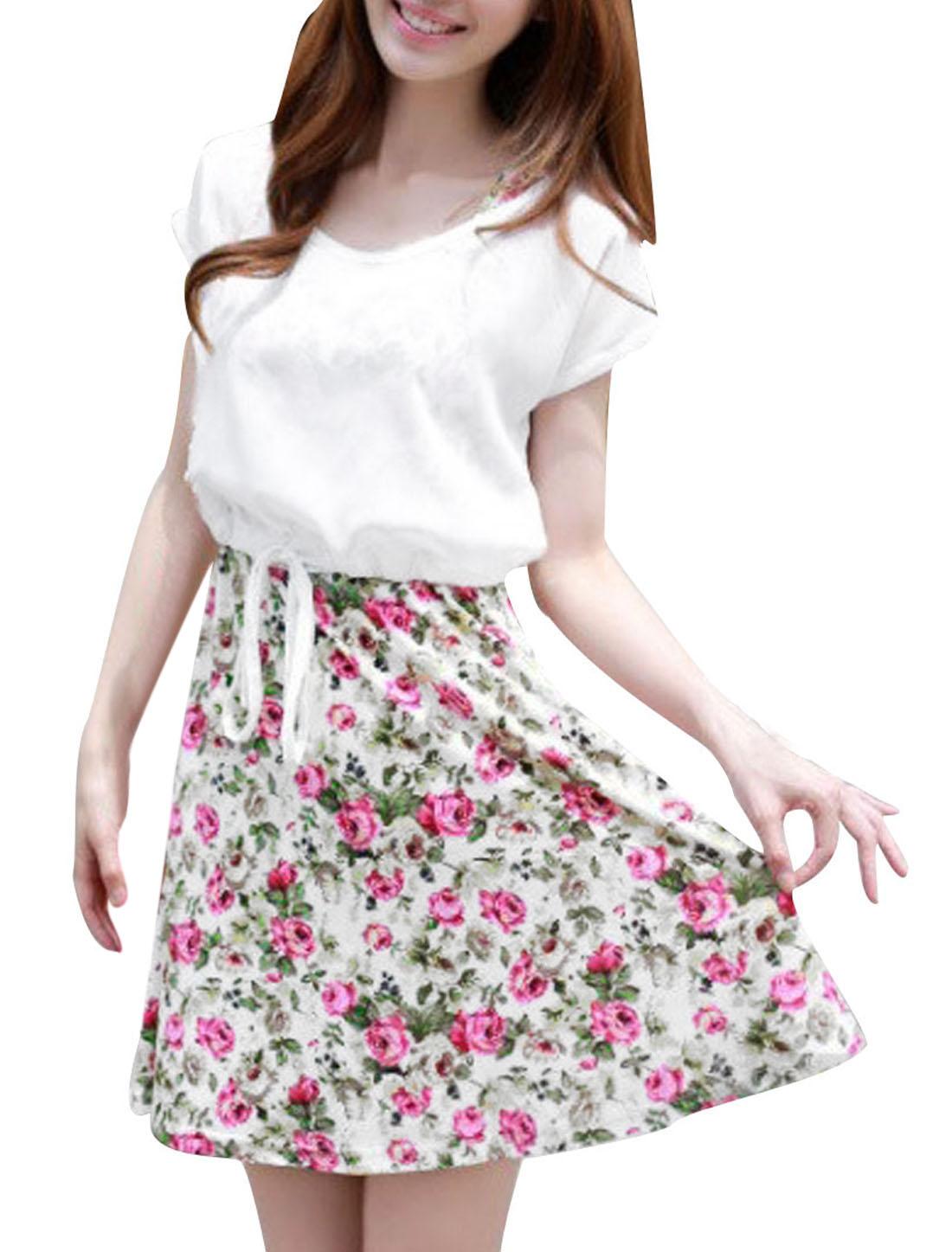 Women Semi Sheer Dolman Sleeve Top w Sleeveless Round Neck Dress XS White