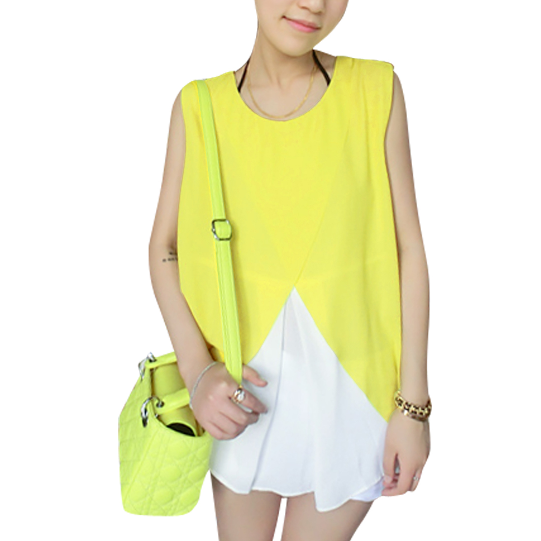 Laides Round Neck Pullover Panel Top Shirt Yellow White S