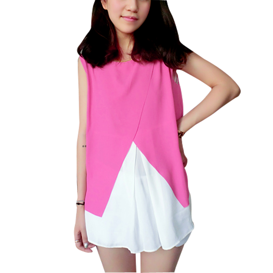 Laides Round Neck Sleeveless Semi Sheer Top Shirt Fuchsia White S
