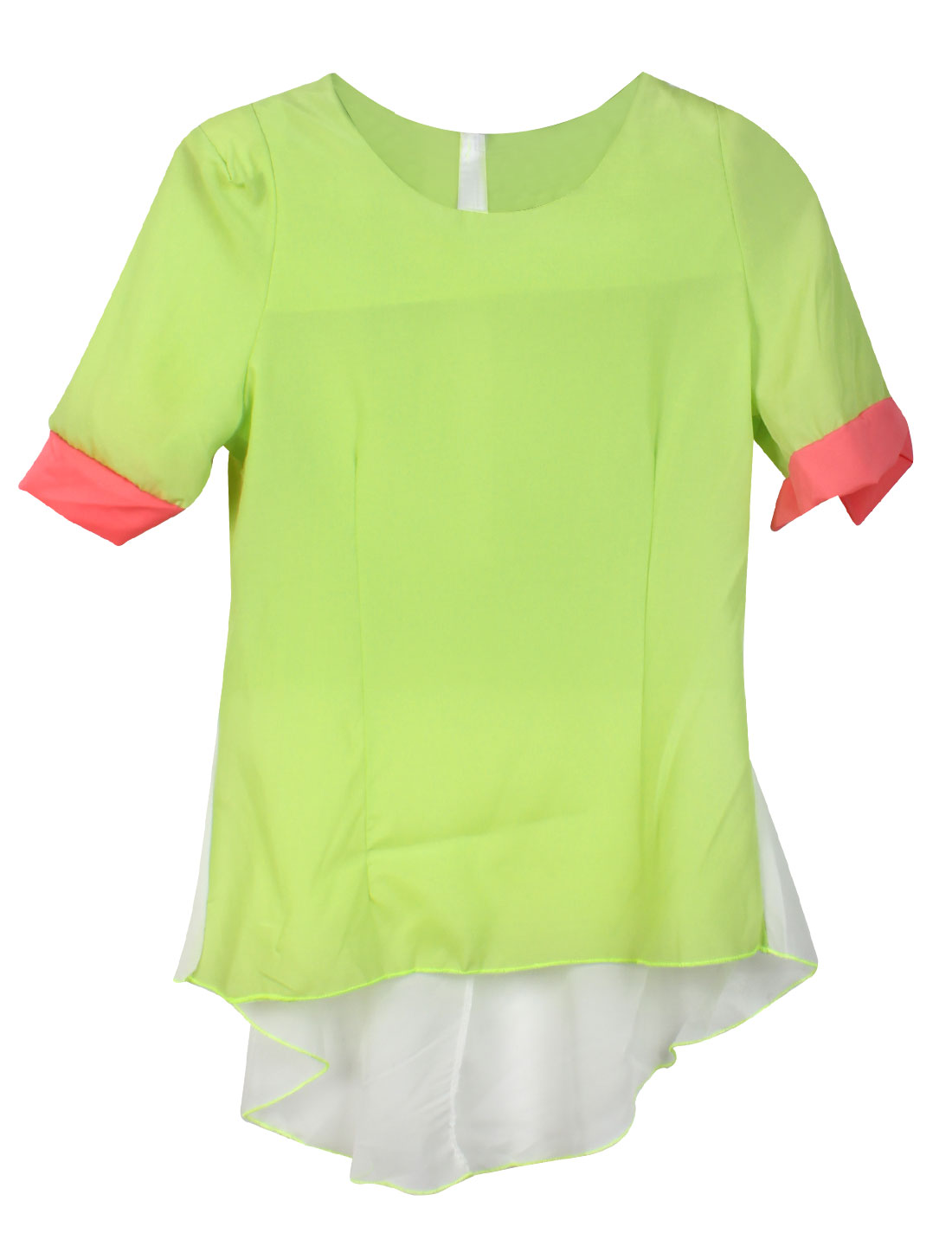 Ladies Round Neck Zip Up Back Short Sleeve Panel Blouse Yellow Green XS