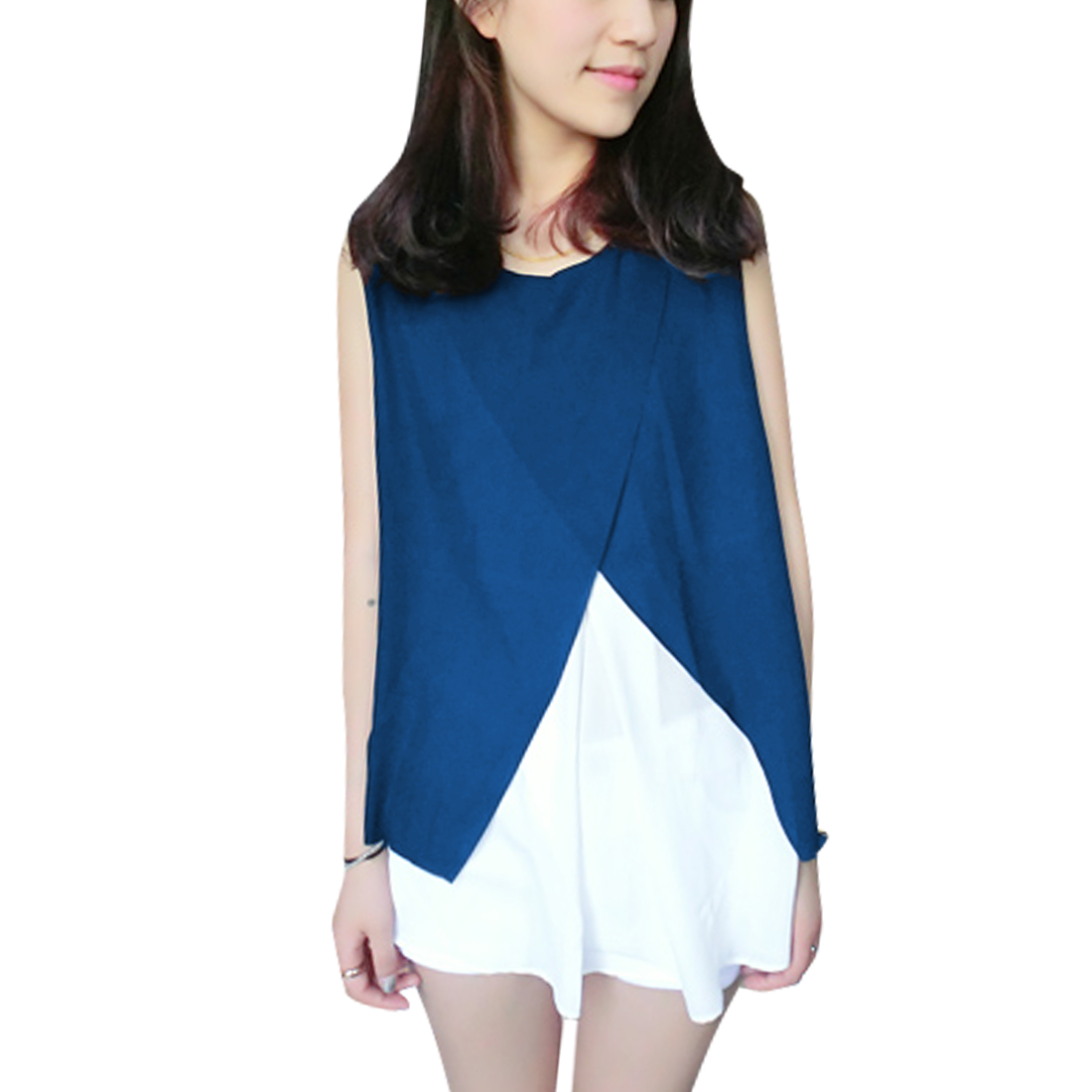 Laides Round Neck Sleeveless Top Shirt Royal Blue White S