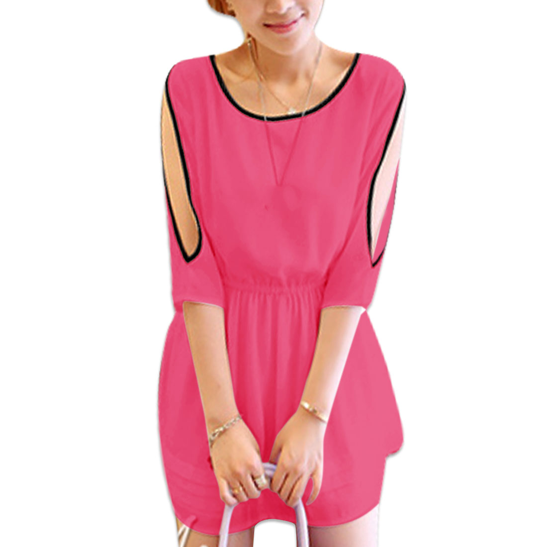 Ladies Round Neck Half Sleeve Cut Out Lining Dress Fuchsia S