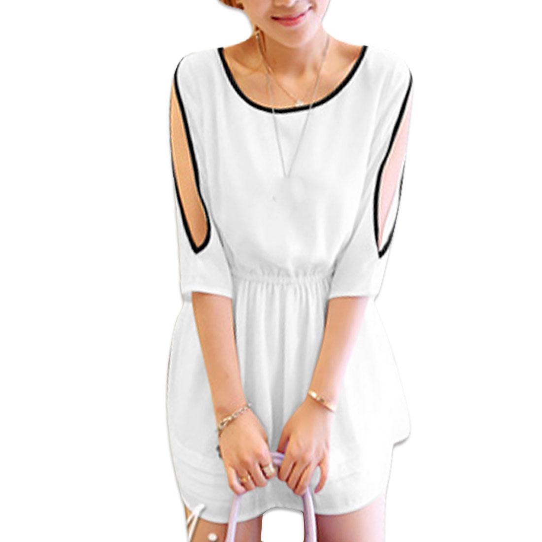 Ladies Half Sleeve Elastic Waist Shift Dress White S