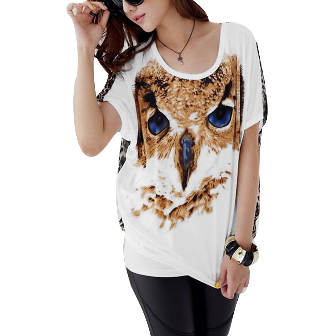 Ladies Chic Round Neck Short Dolman Sleeve Eagle Pattern Front White Shirt M