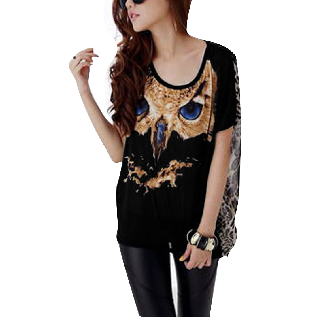 Woman New Fashion Round Neck Short Dolman Sleeve Black Splice Shirt M