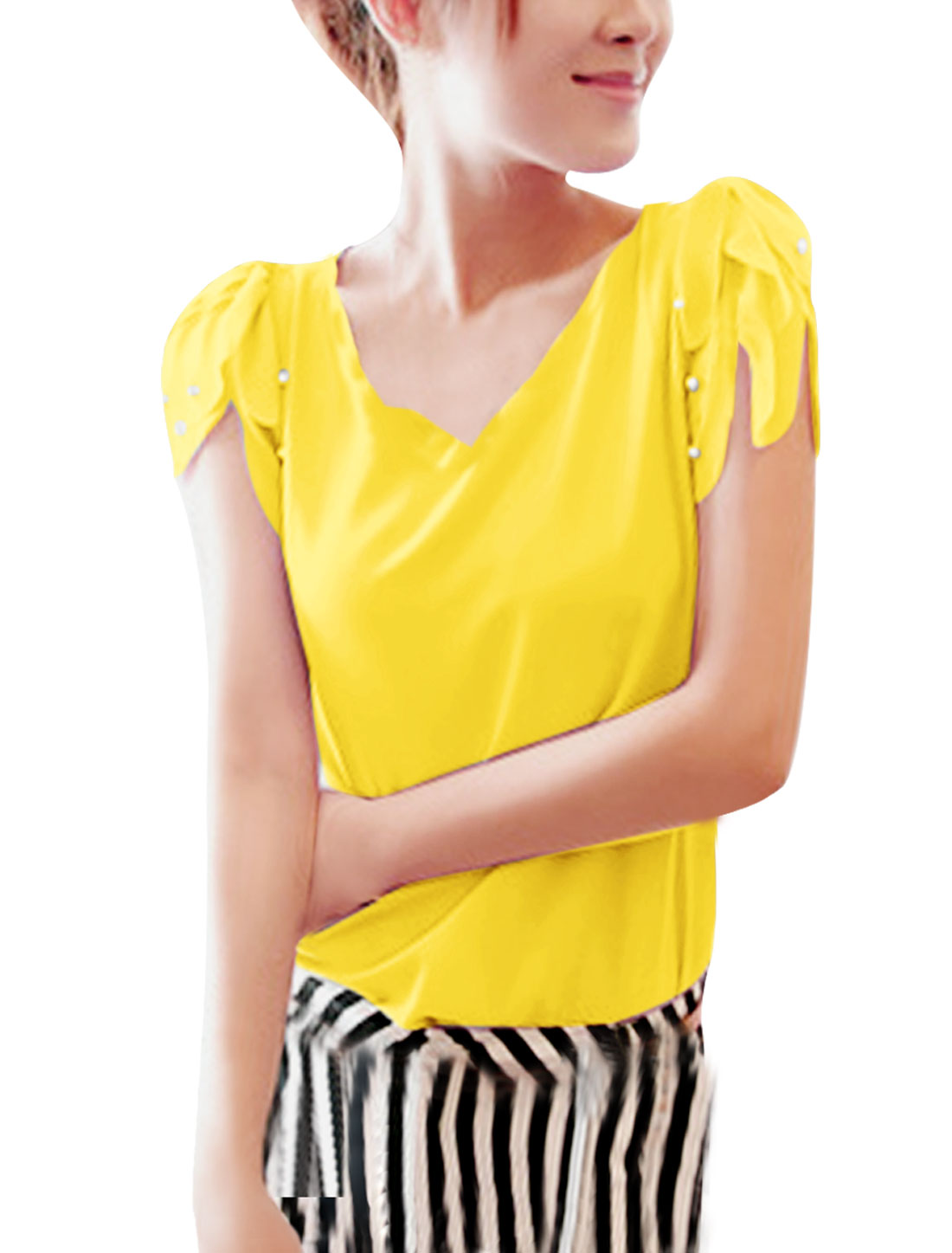 Ladies V Neck Pullover Puff Sleeve Beads Detail Blouse Yellow XS
