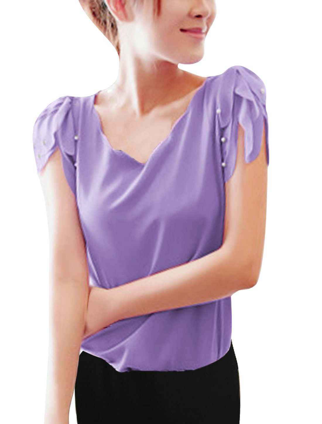Ladies V Neck Pullover Puff Sleeve Semi Sheer Blouse Purple XS