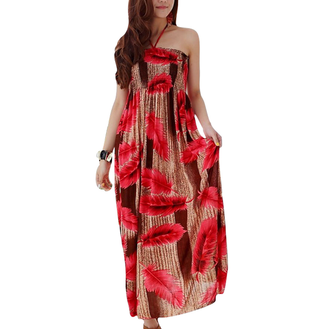 Lady Straped Halter Neck Feathers Pattern Ankle Length Dress Red Beige XS