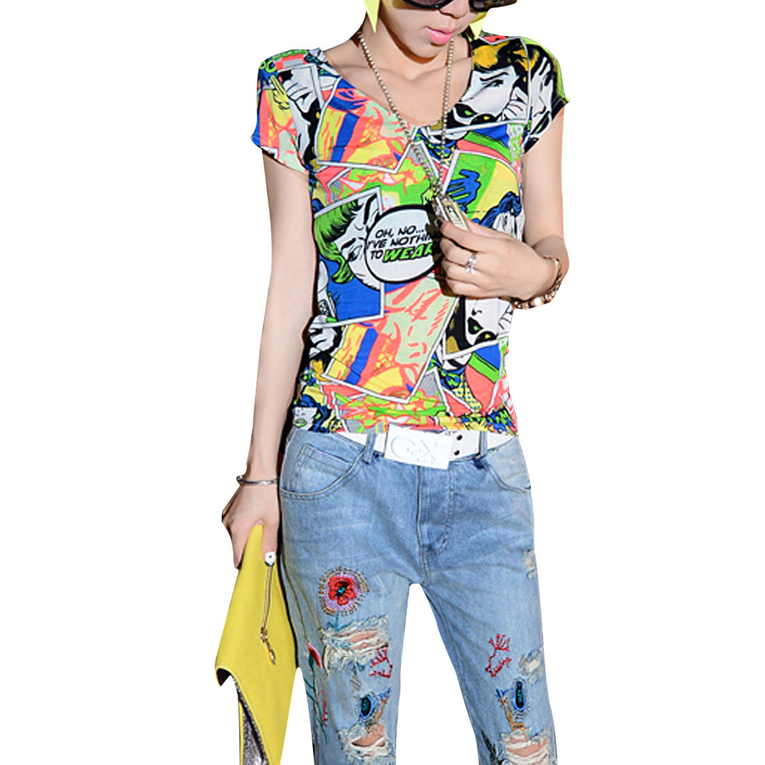 Lady Multicolor V Neck Short Sleeves Portrait Casual Slim Shirt XS