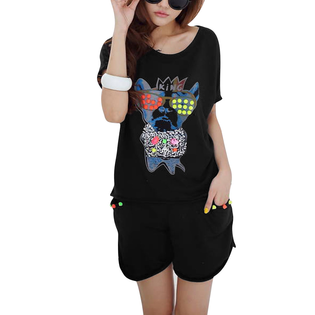 Ladies Rivets Decor Cartoon Dog Prints Black Shirt w Short Pants S