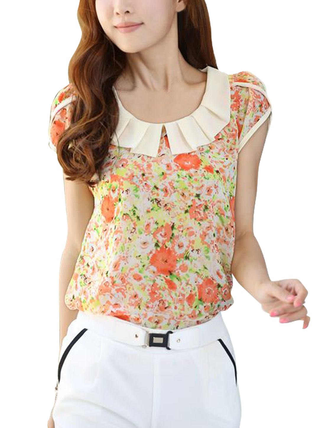 Ladies Short Sleeves Chiffon Split Neck Leisure Shirts Pink XS