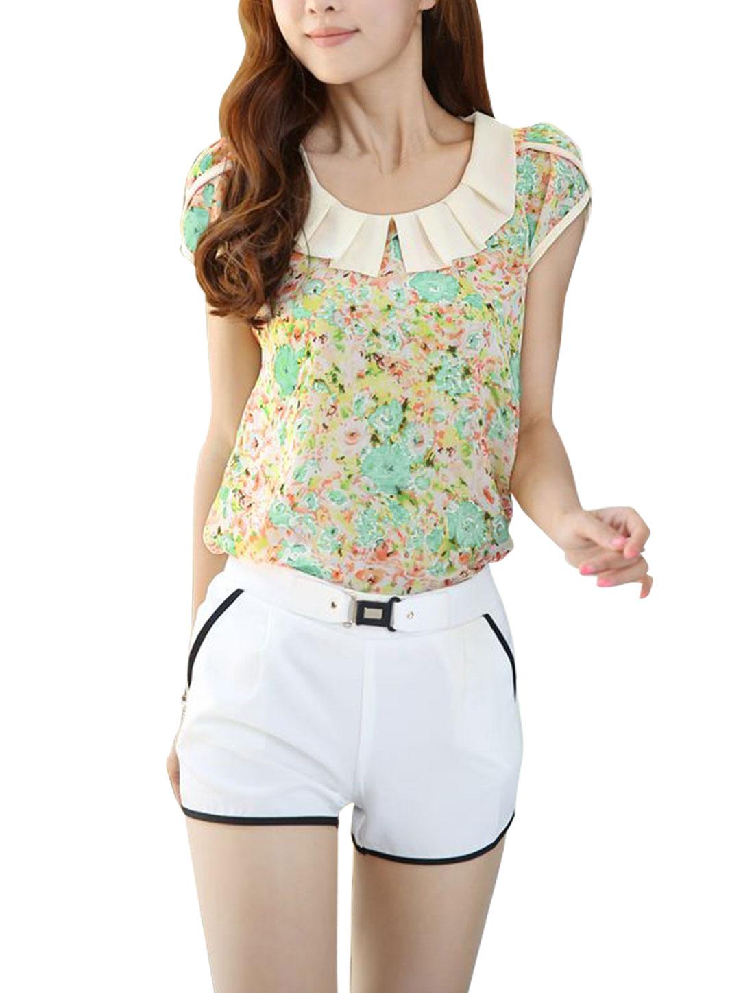 Women Small Floral Prints Doll Collar Split Neck Sun Shirts Light Green XS