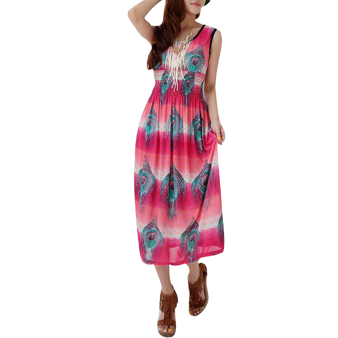 Lady Pullover Scoop Neck Peacock Feather Pattern Fuchsia Mid-calf Dress XS