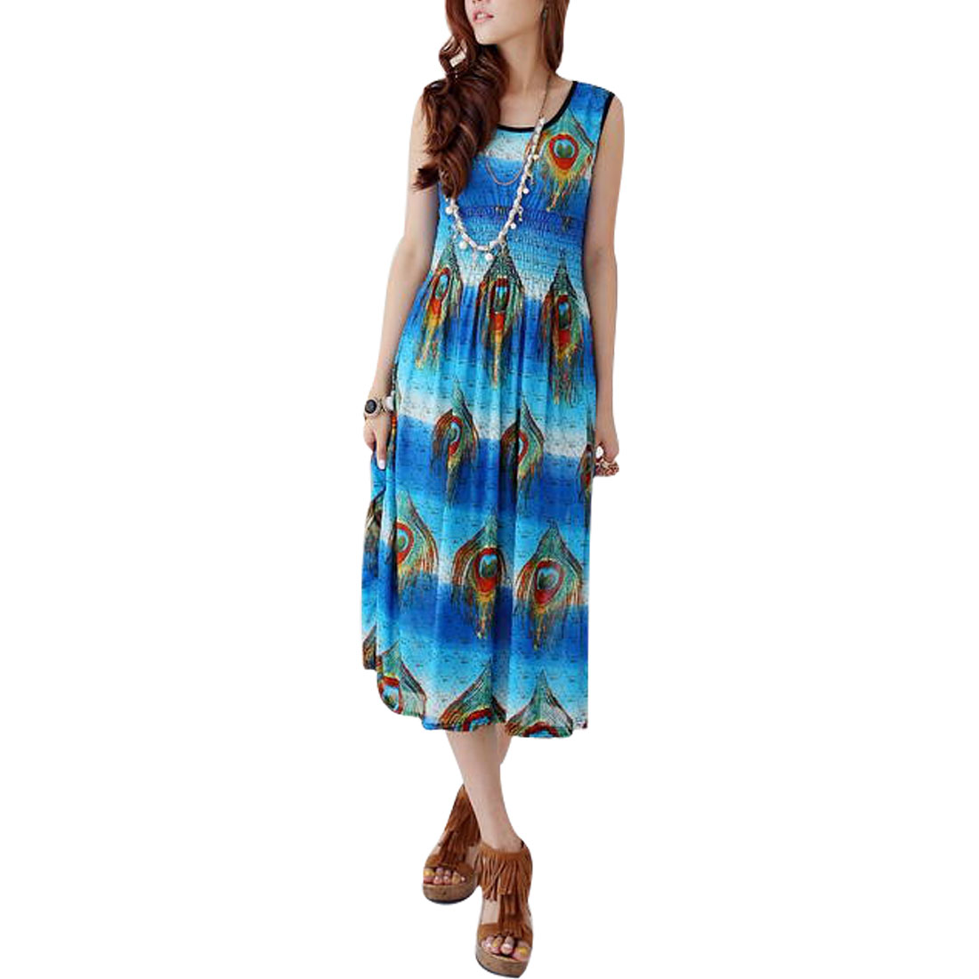 Lady Scoop Neck Peacock Feather Prints Semi-sheer Blue Tank Dress XS
