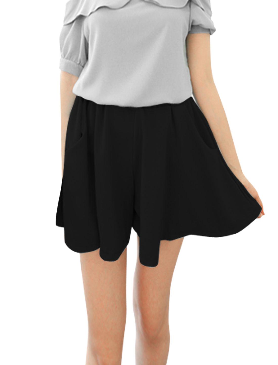 Ladies Mini Chiffon Slant Pockets Sexy Chic Shorts Black XS
