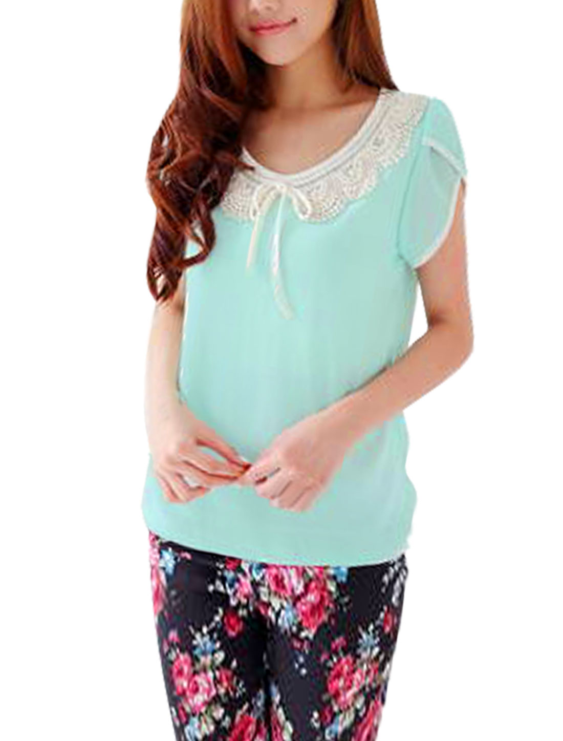 Ladies Round Neck Pullover Cap Sleeve Semi Sheer Blouse Aqua S