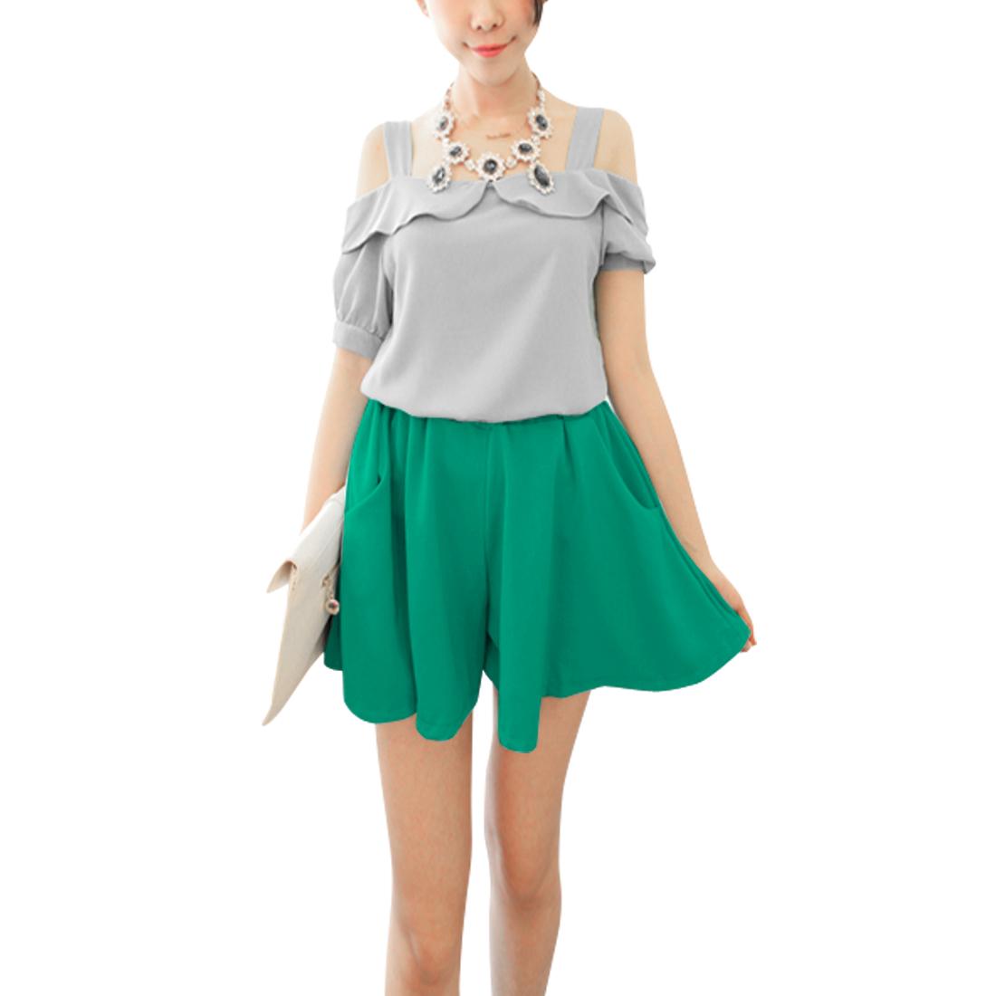 Women Elastic Waist Pockets Mini Shorts Trousers Green XS