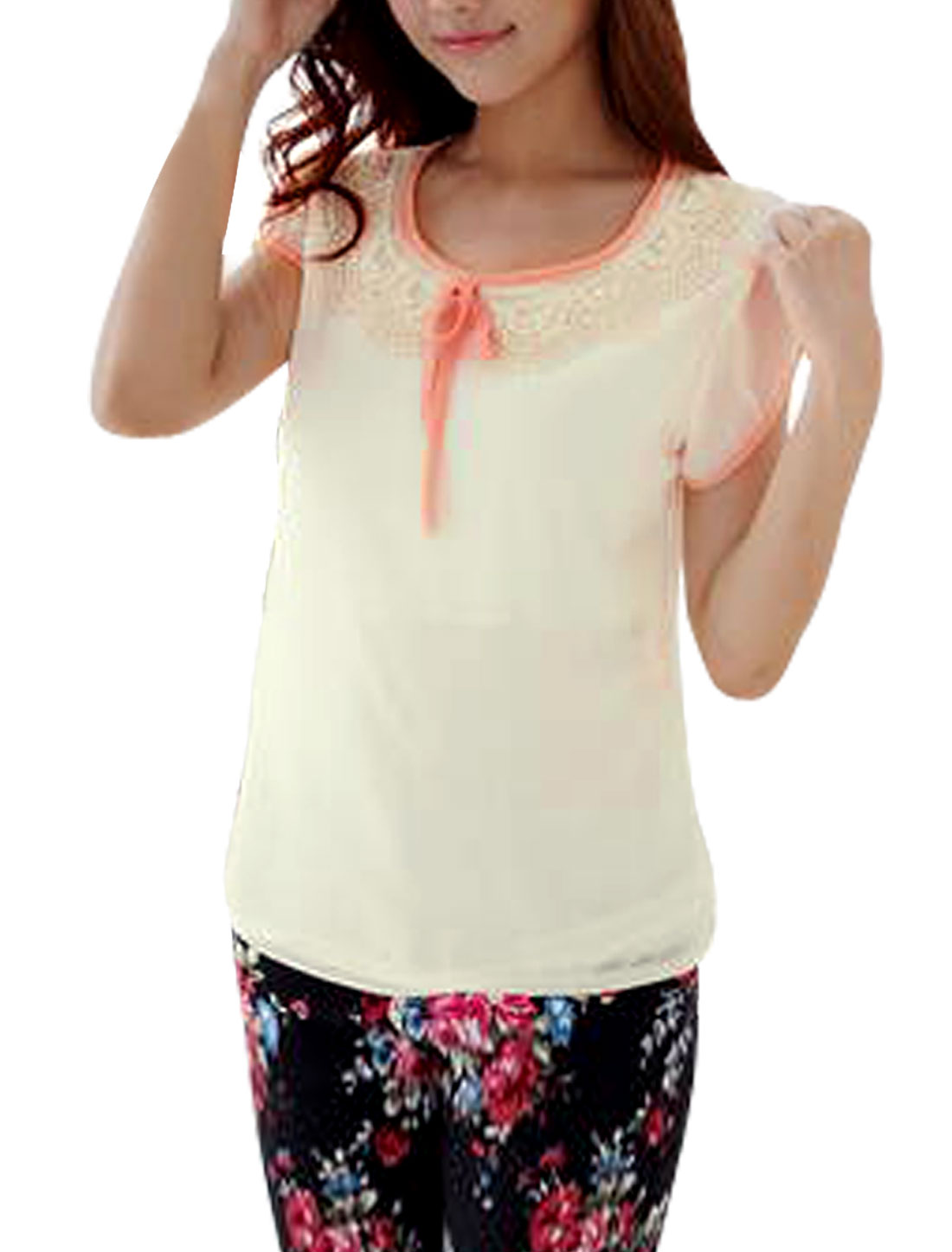Ladies Round Neck Pullover Cap Sleeve Crochet Decor Blouse Beige S