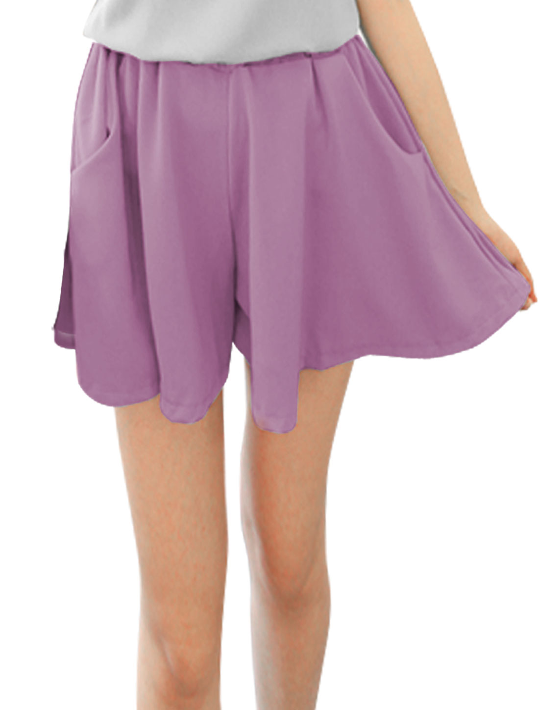 Ladies Slant Pockets Elastic Waist Mini Chiffon Shorts Purple XS