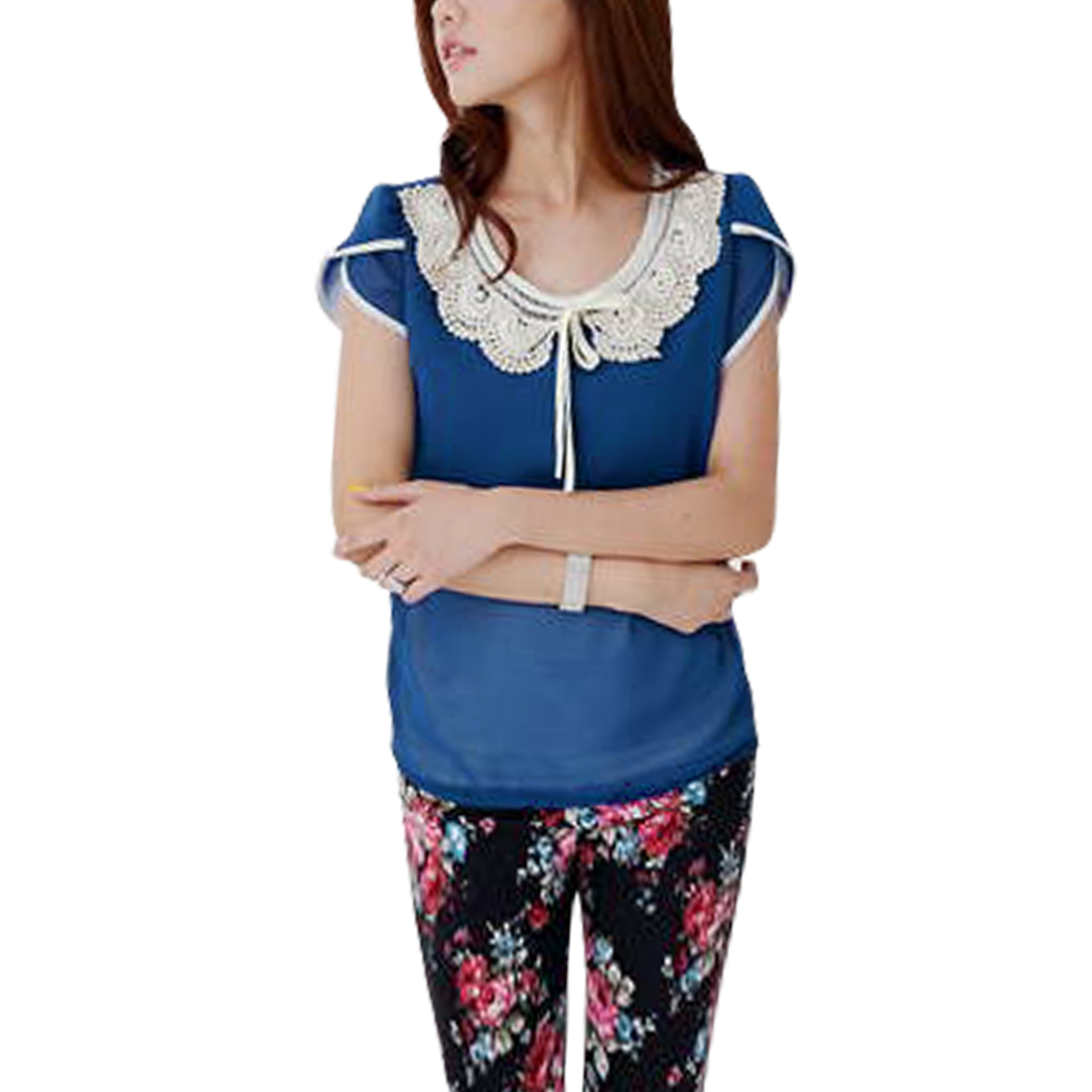 Ladies Round Neck Pullover Cap Sleeve Bowknot Blouse Royal Blue S