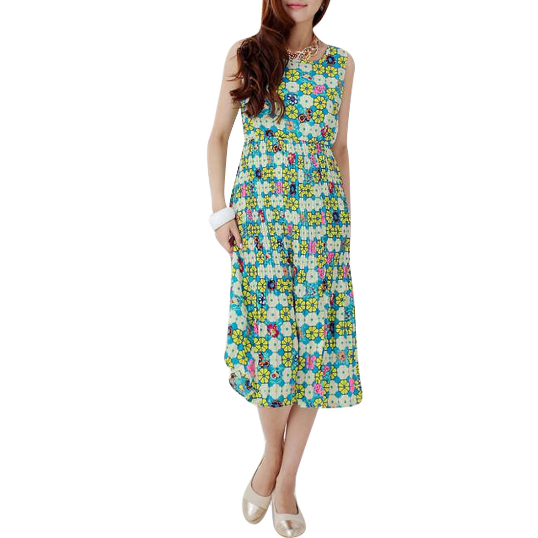 Ladies Round Neck Floral Prints Dress Turquoise Yellow S