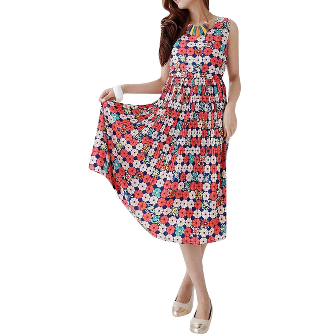 Ladies Sleeveless Elastic Waist Dress Dark Blue Red S