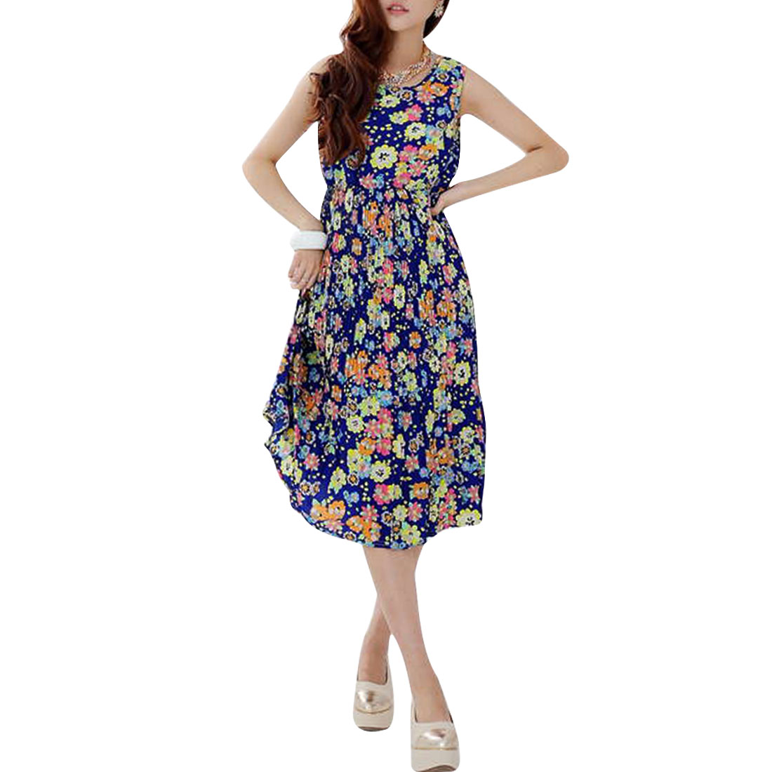 Ladies Sleeveless Floral Prints Pleated Dress Multicolor S