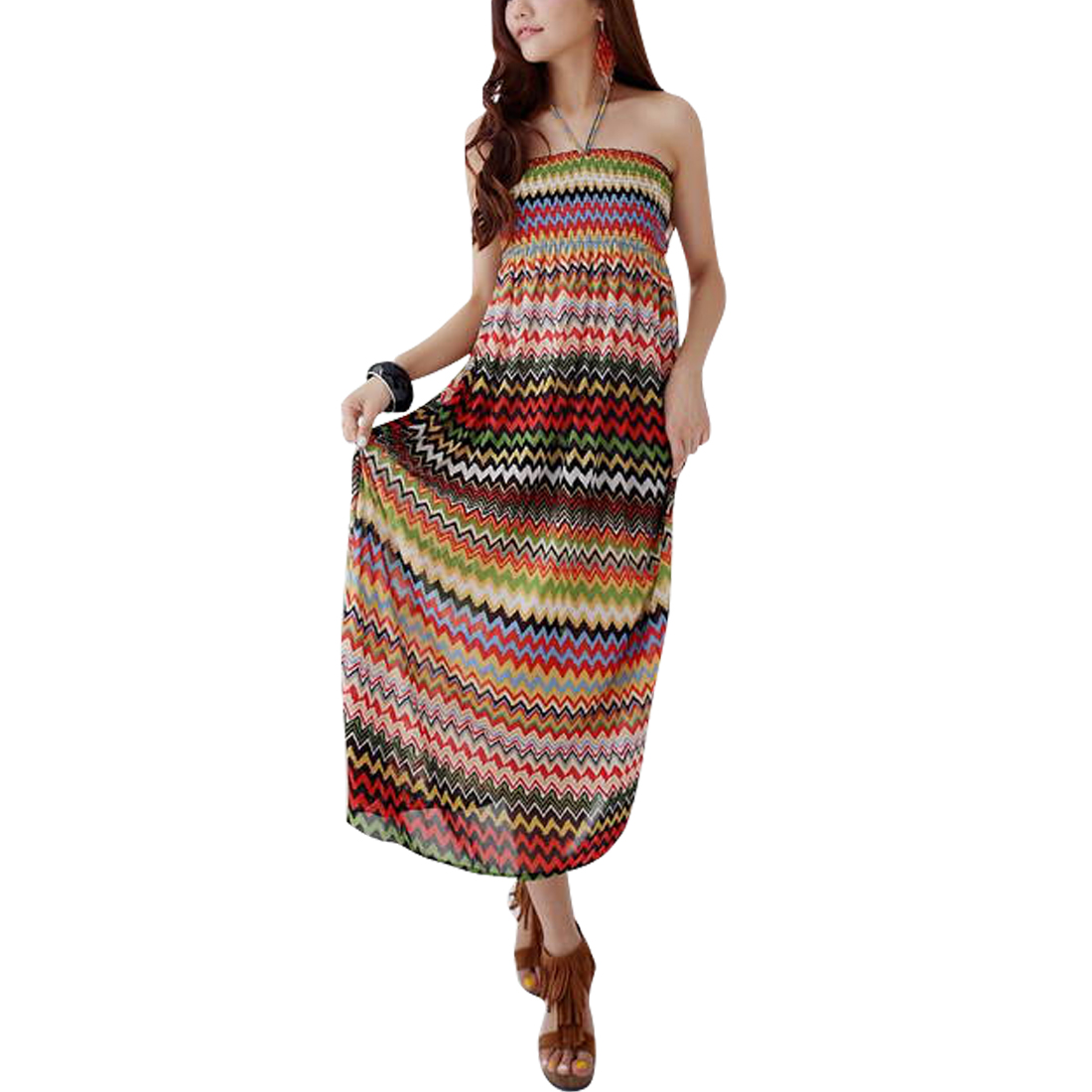 Red XS Pleated Multicolor Design Pullover Style Round Hem Dress for Ladies