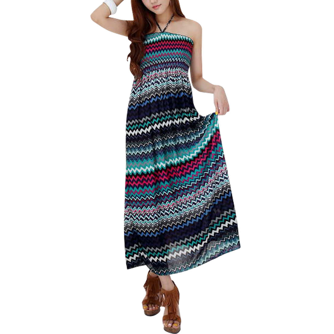 Women Halter Neck Style Elastic Waist Novelty Pattern Summer Dress XS Blue