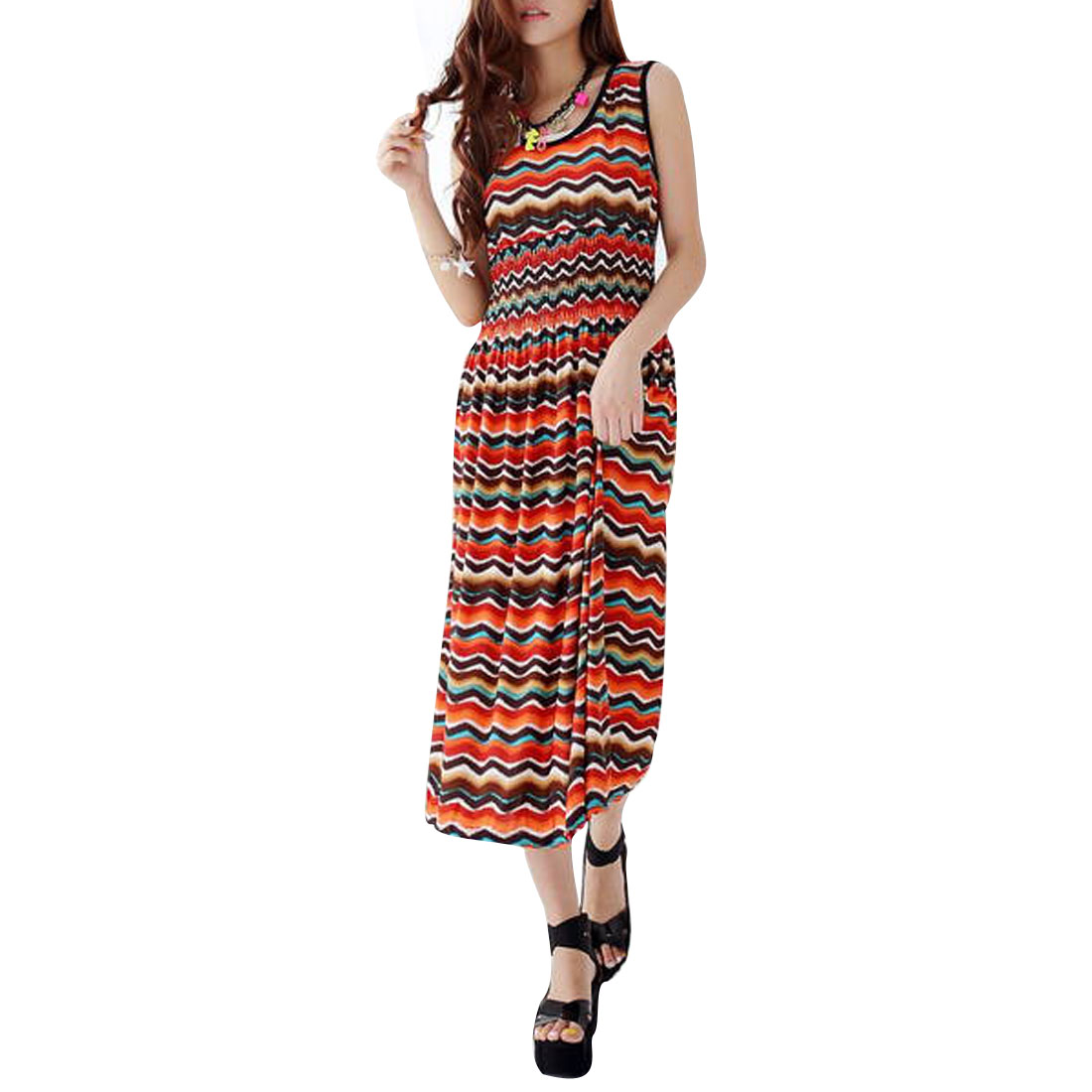 Lady Semi-sheer Sleeveless Zig Zag Pattern Multicolor Mid-calf Dress XS