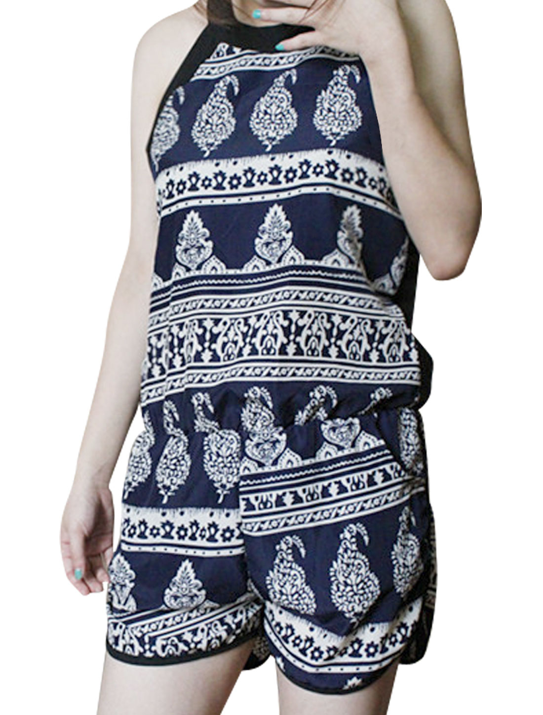 Women Slant Pockets Stretchy Waist Novelty Pattern Romper Navy Blue S