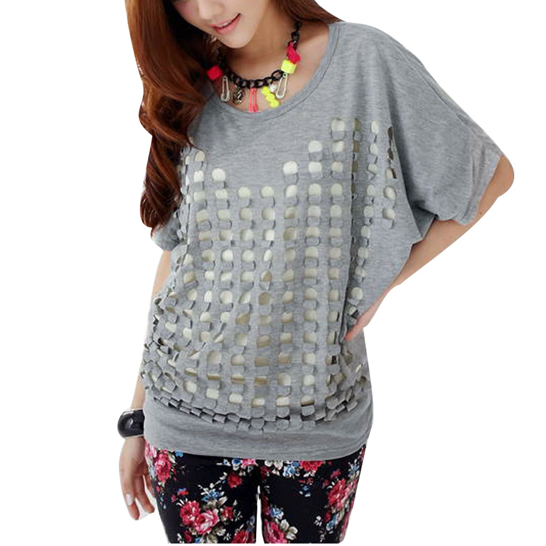 Women Dolman Softness Dots Design Spliced Loose Shirt Gray M
