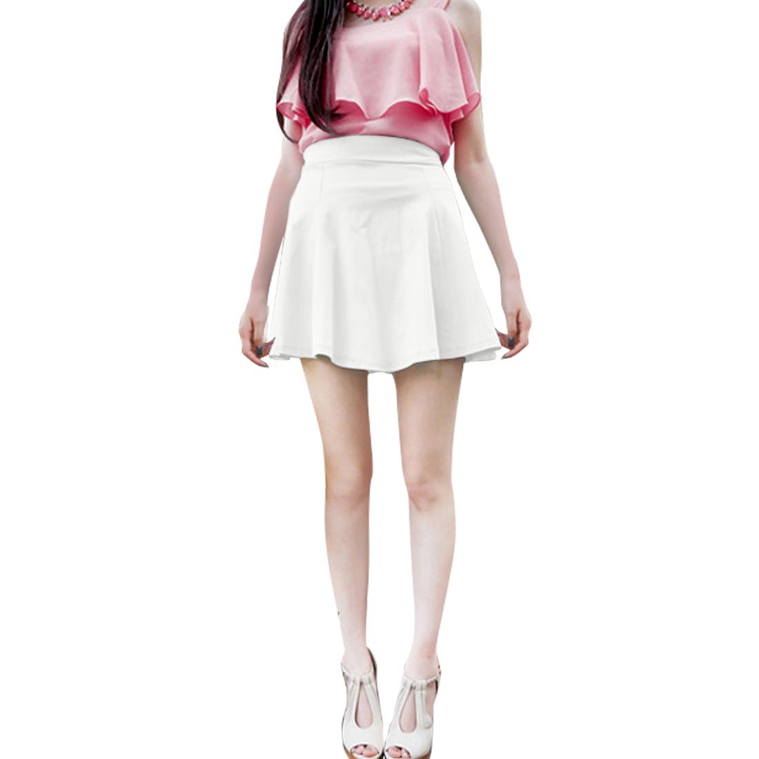 Ladies Zipper Back Elastic Waist Mini Skater Skirt White XS