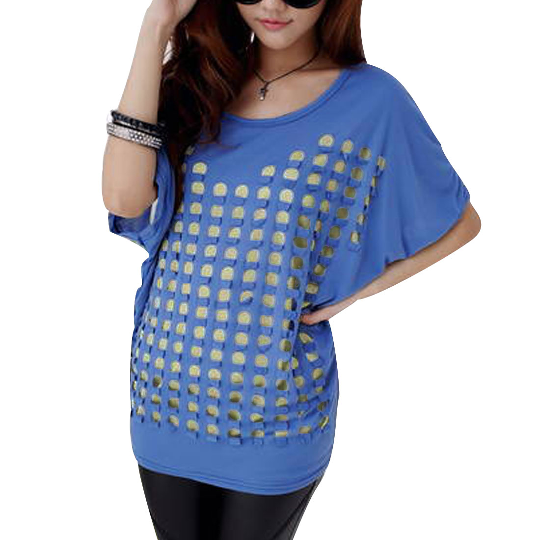 Lady Solid Color Batwing Splice Short-sleeved Tops Blouses Blue M