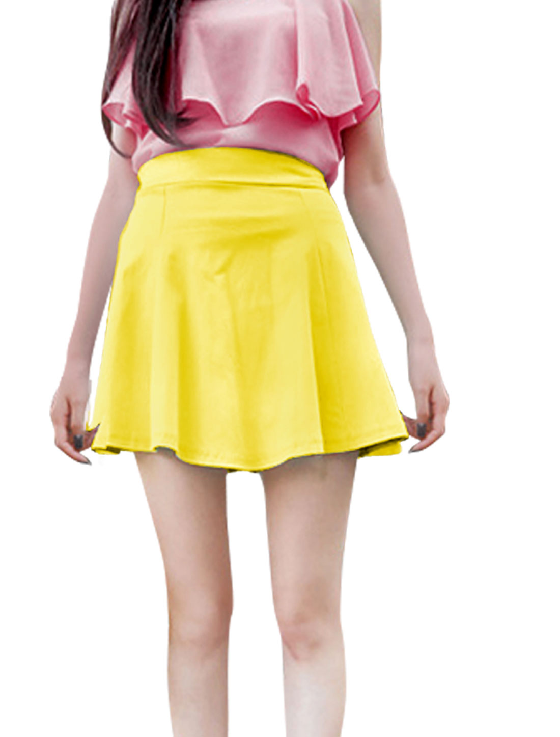 Ladies Zipper Back Elastic Waist Mini Skater Skirt Yellow XS