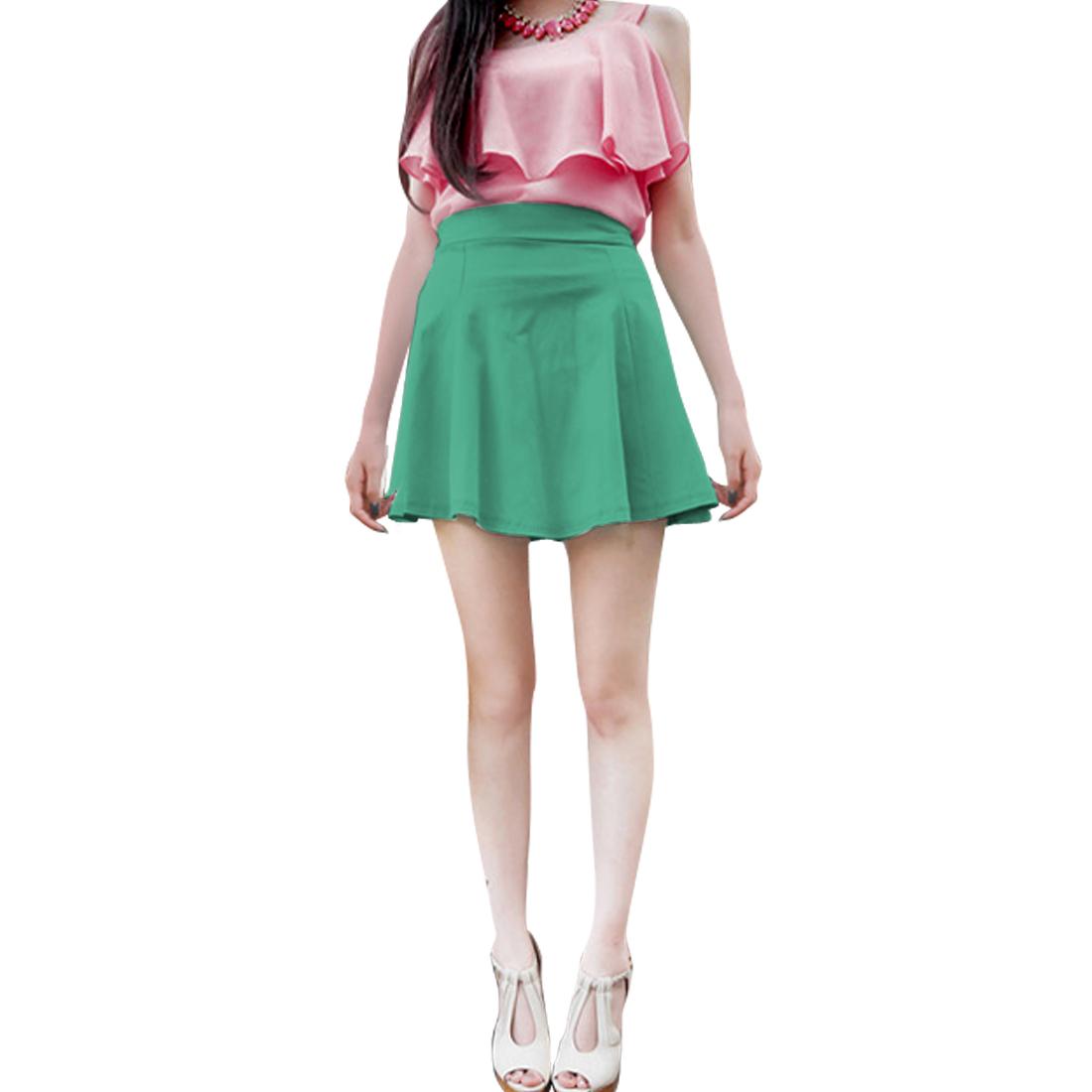 Ladies Zipper Back Elastic Waist Mini Skater Skirt Green XS