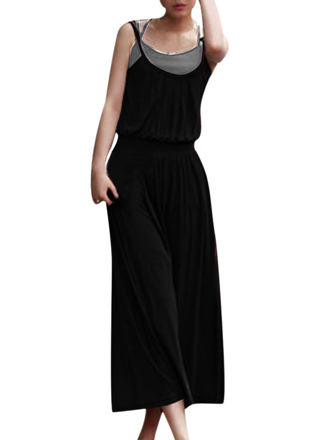 Lady Leisure Sleeveless Elastic Waist Pure Black Mid-calf Long Dress XS