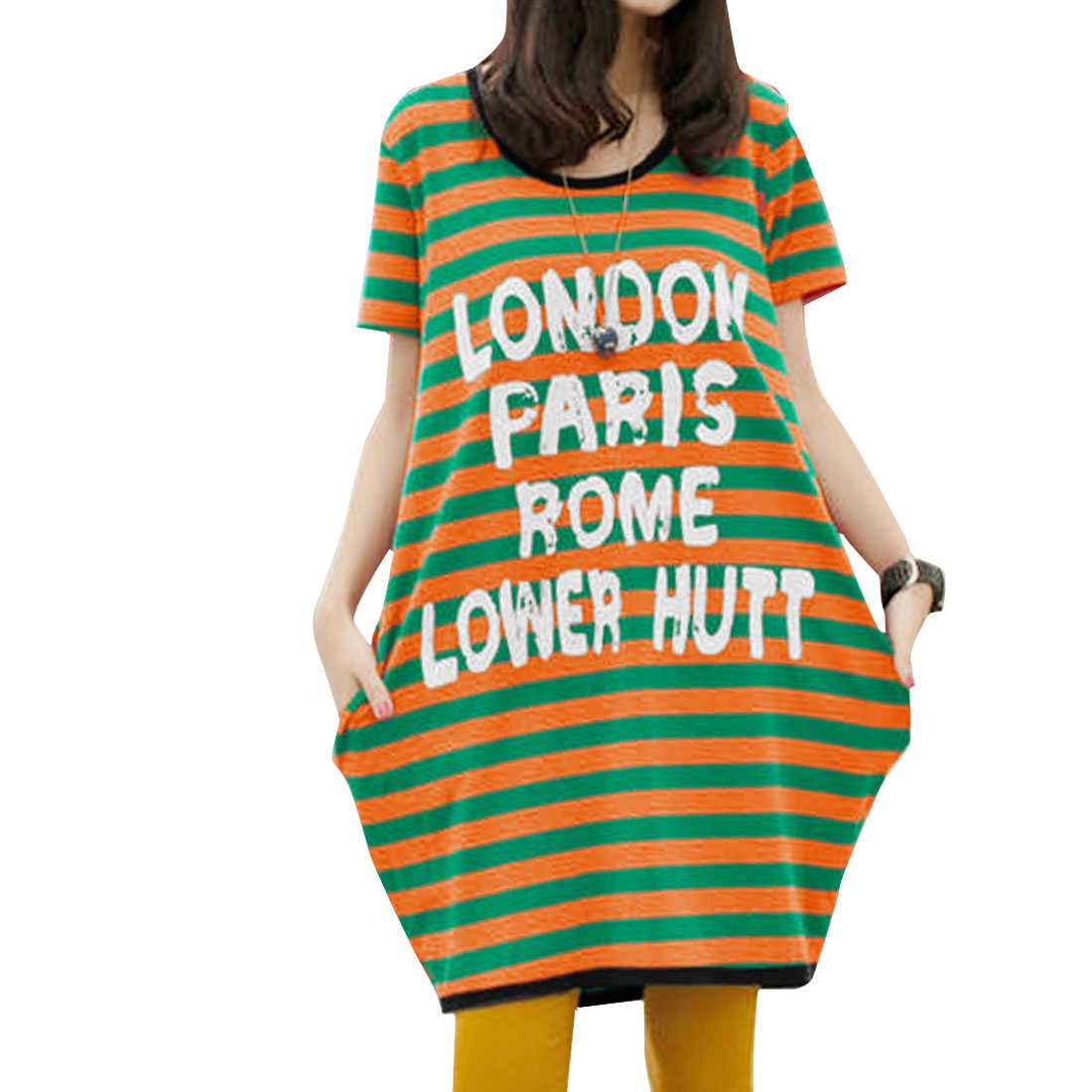 Lady Short-sleeved Letters Striped Prints Loose Dress Green Orange XS