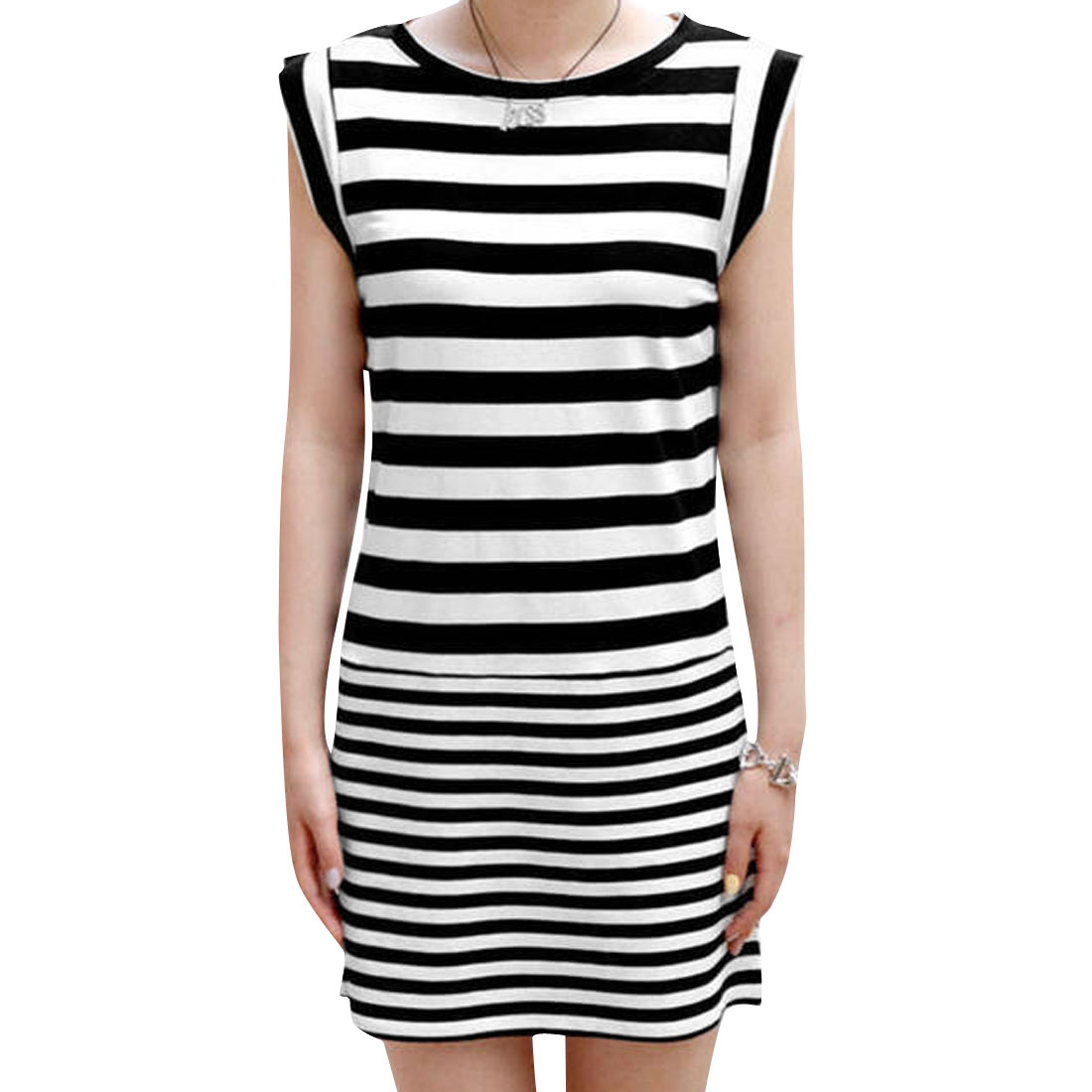 Ladies Stripes Pattern Sleeveless Bodycorn Elegant Dress White Black S