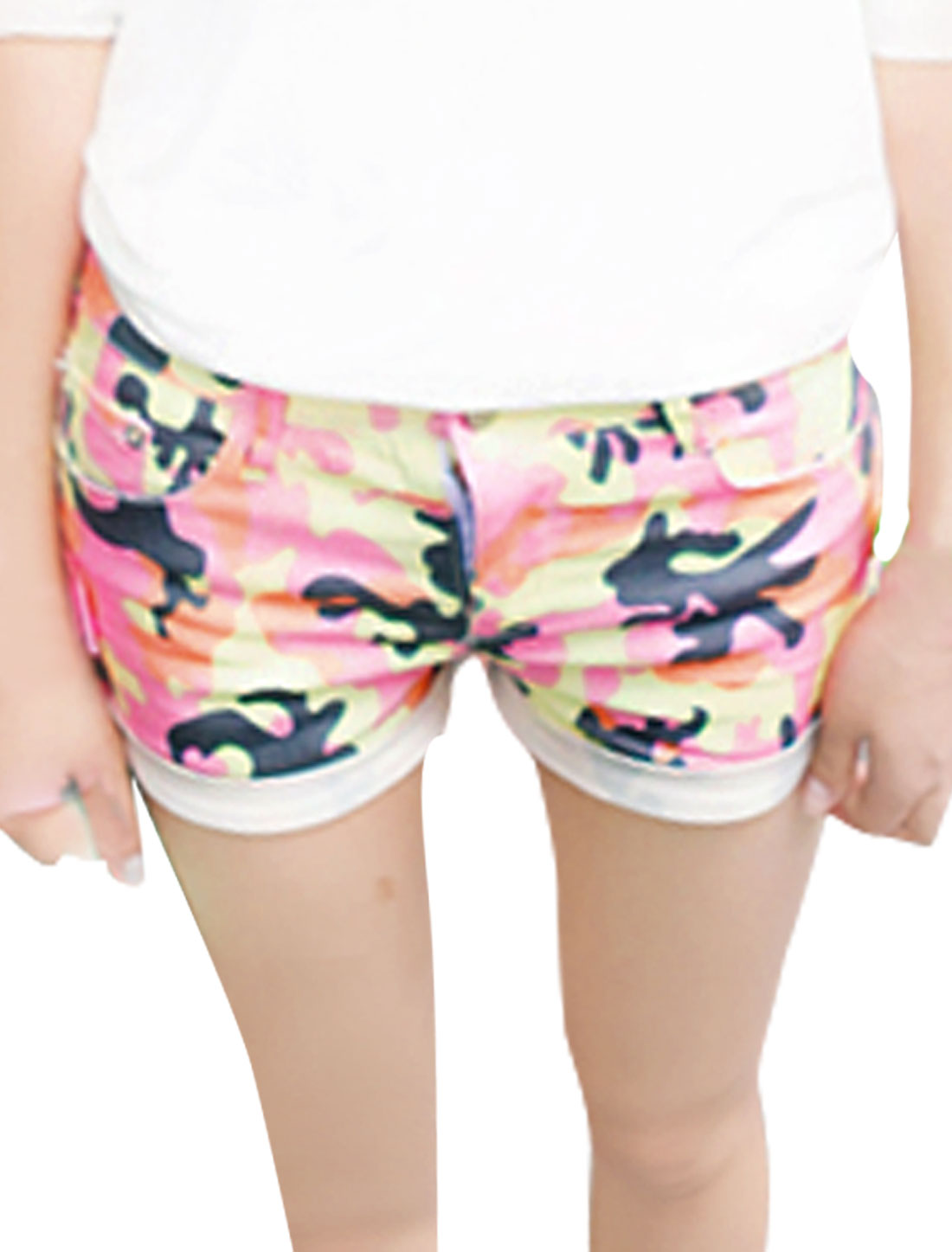 Women Button Closure Zipper Fly Camouflage Print Mini Shorts Pink Yellow Xs