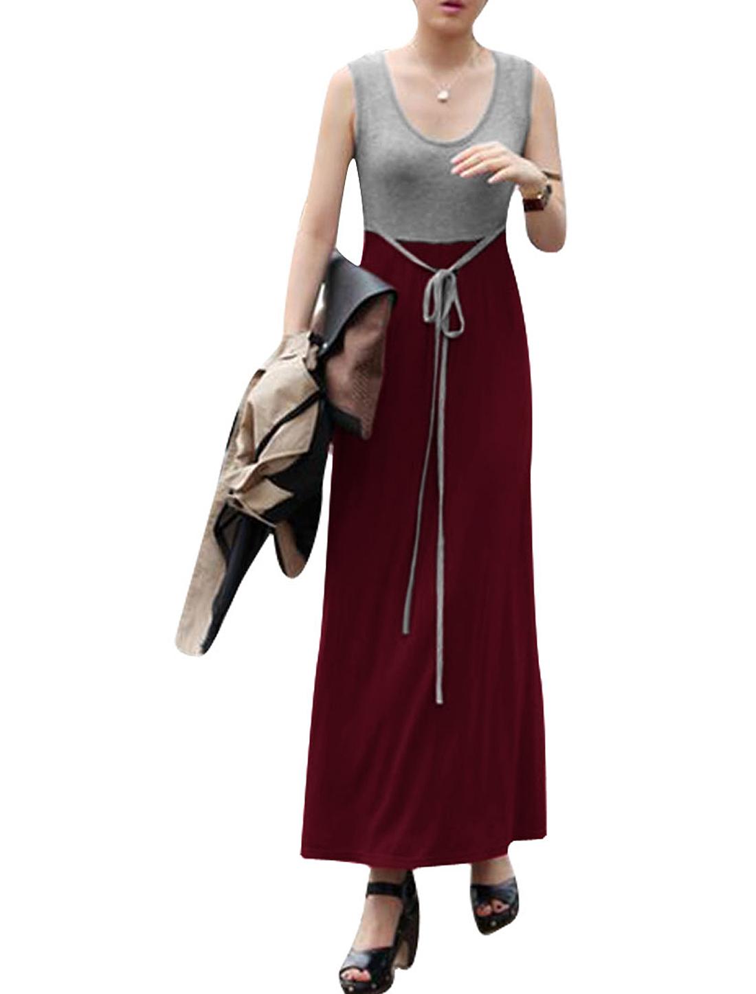 Burgundy XS Splice Style Pullover Round Hem Sleeveless Dress for Ladies
