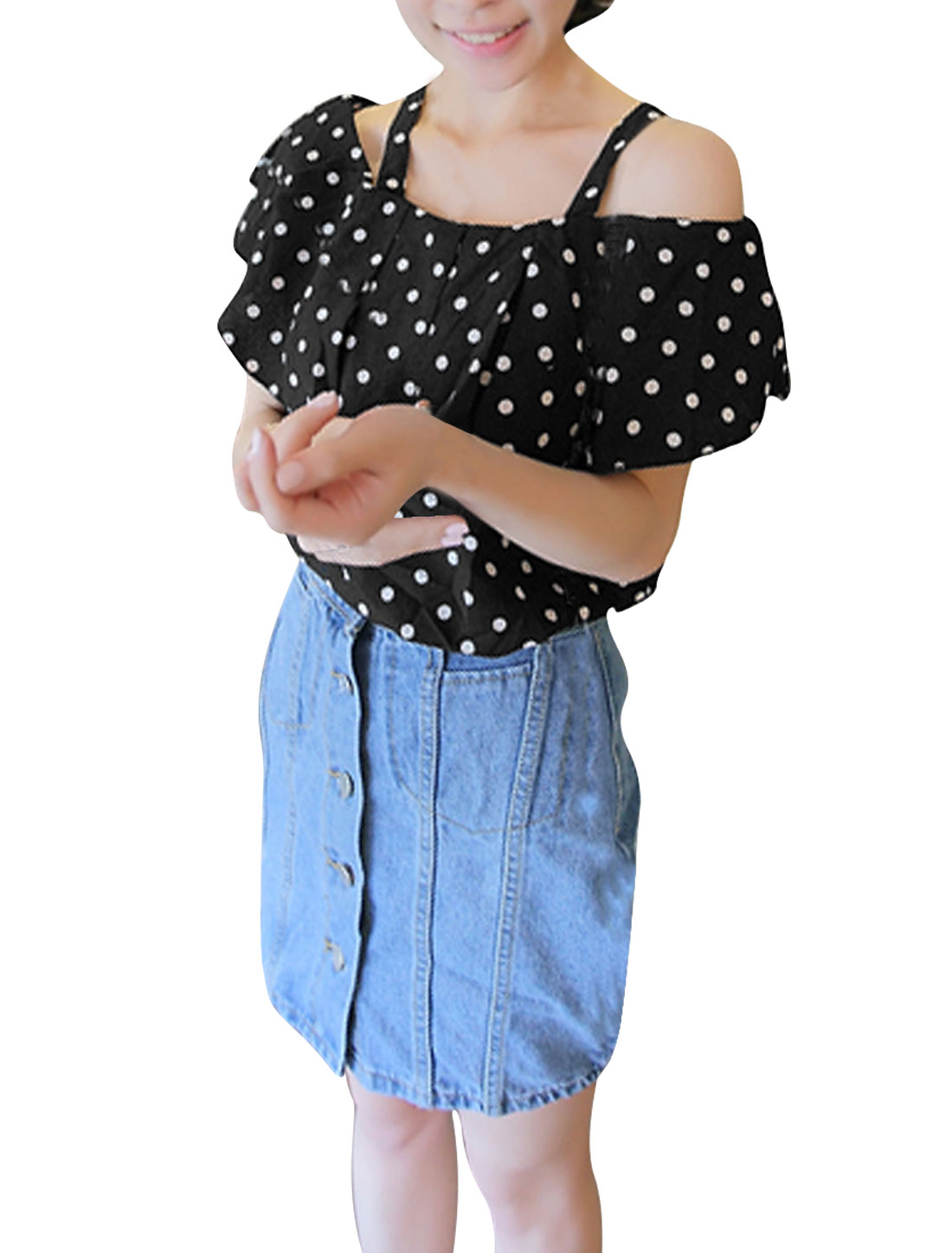 Lady Dots Prints Black Falbala Off-shoulder Chiffon Top S