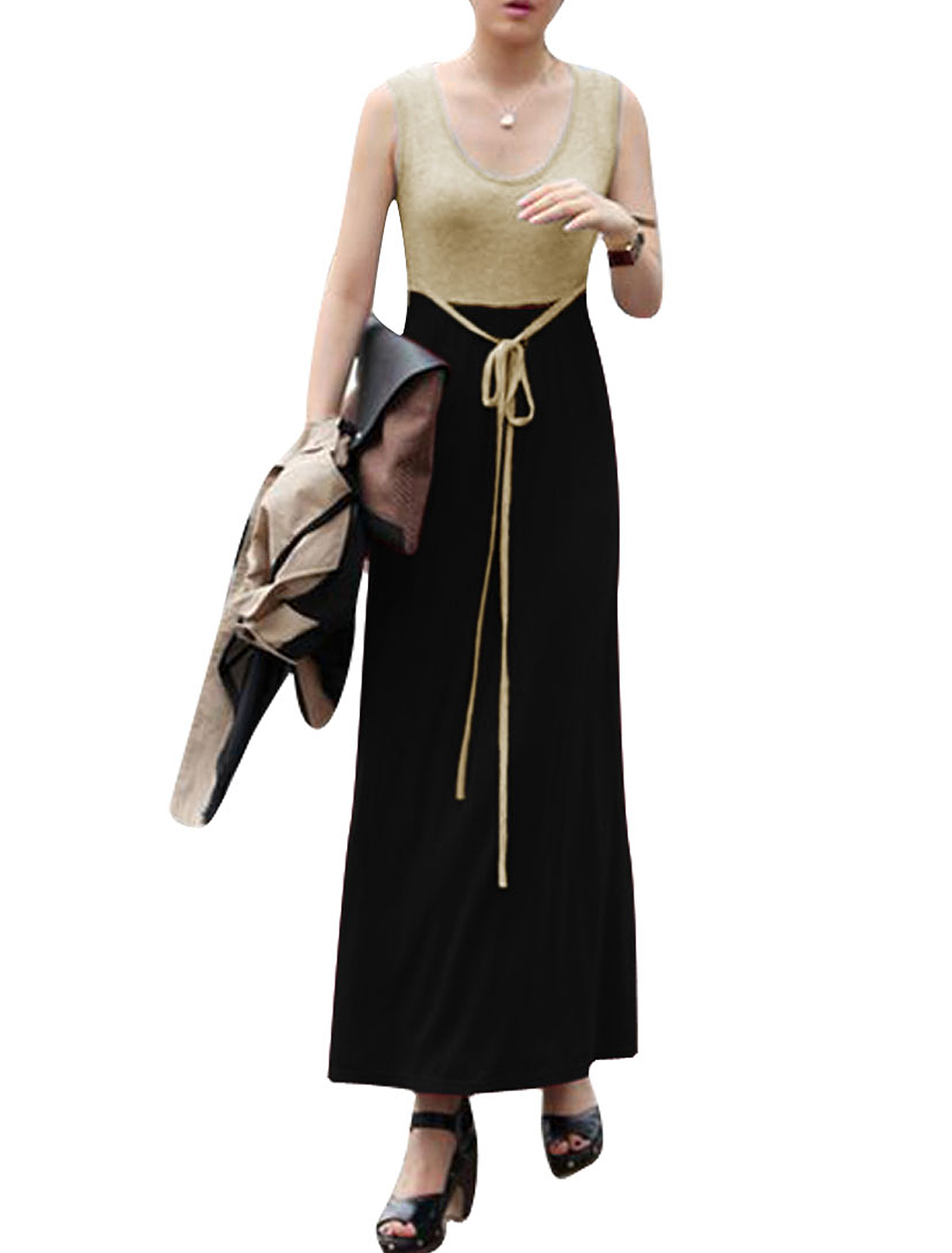 Women Round Neck Drawstring Waist Sleeveless Design Casual Dress Black XS