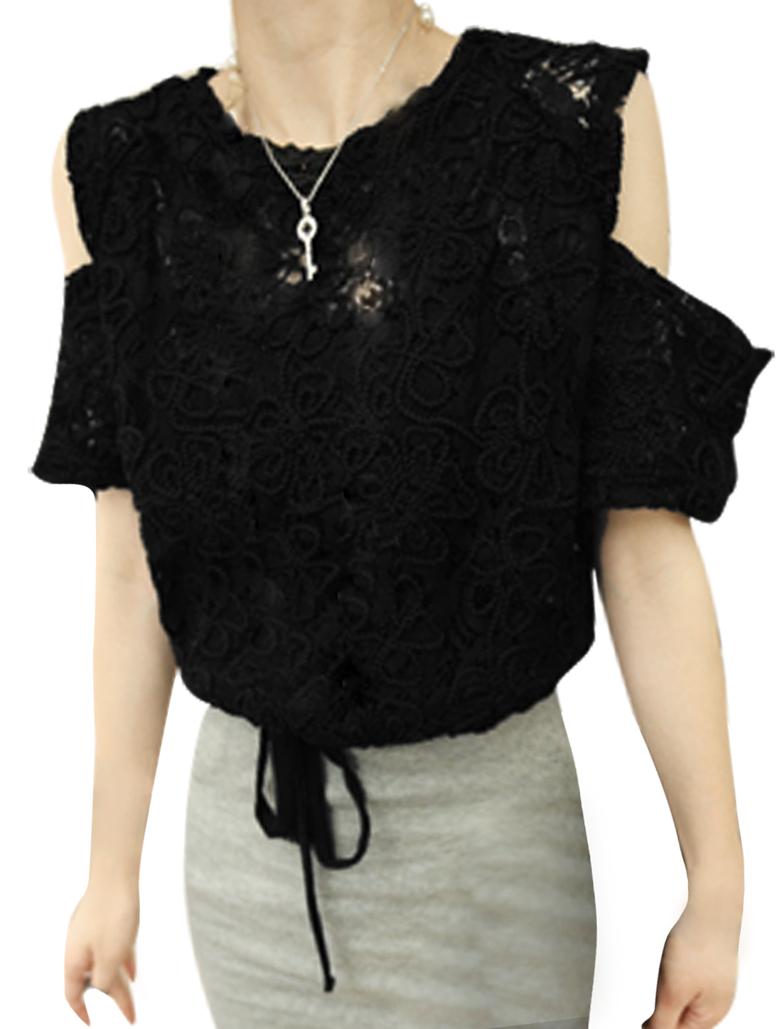 Lady Black Flower Design Cutout Shoulder Short Sleeve Lace Top XS