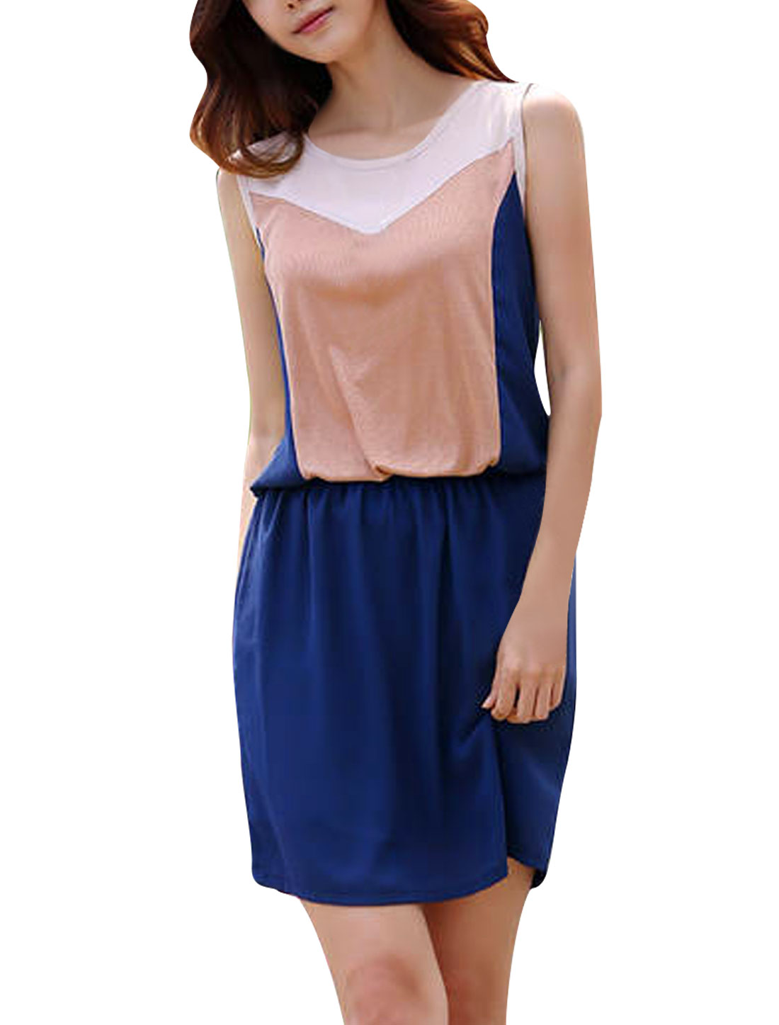 Women Sleeveless Design Round Neck Elastic Waist Slim Fit Dress Blue S