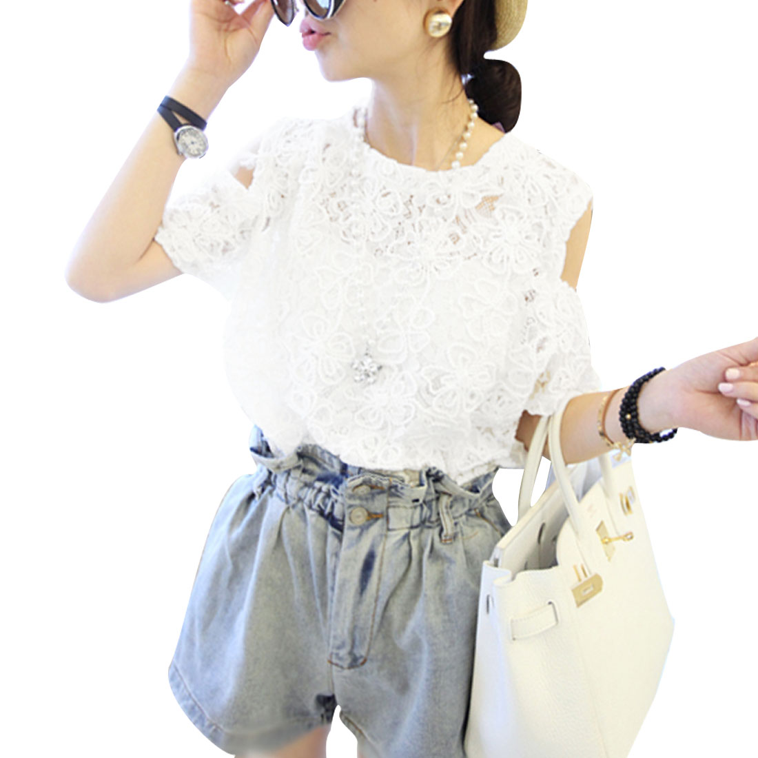 Lady White Round Neck Cutout Shoulder Short Sleeve Top XS